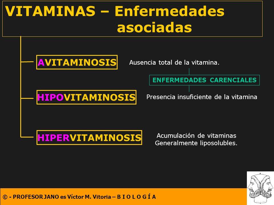 VITAMINAS – Enfermedades asociadas
