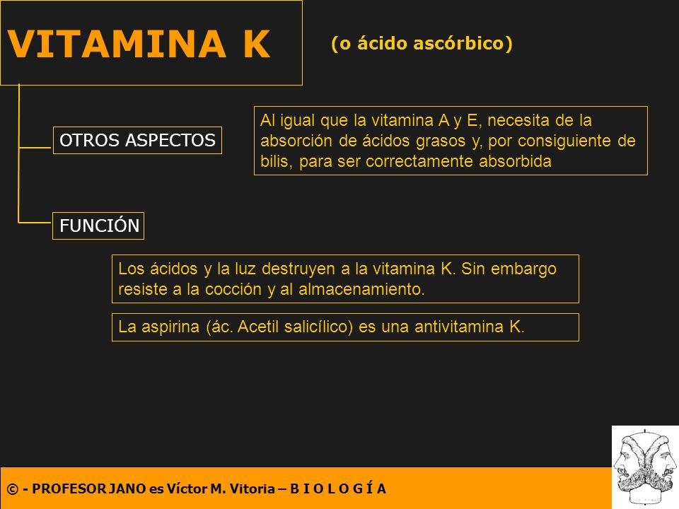 VITAMINA K (o ácido ascórbico)