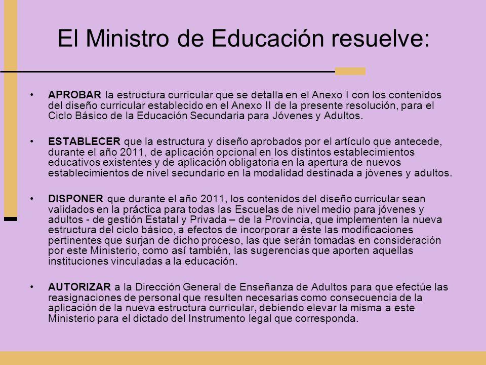 El Ministro de Educación resuelve: