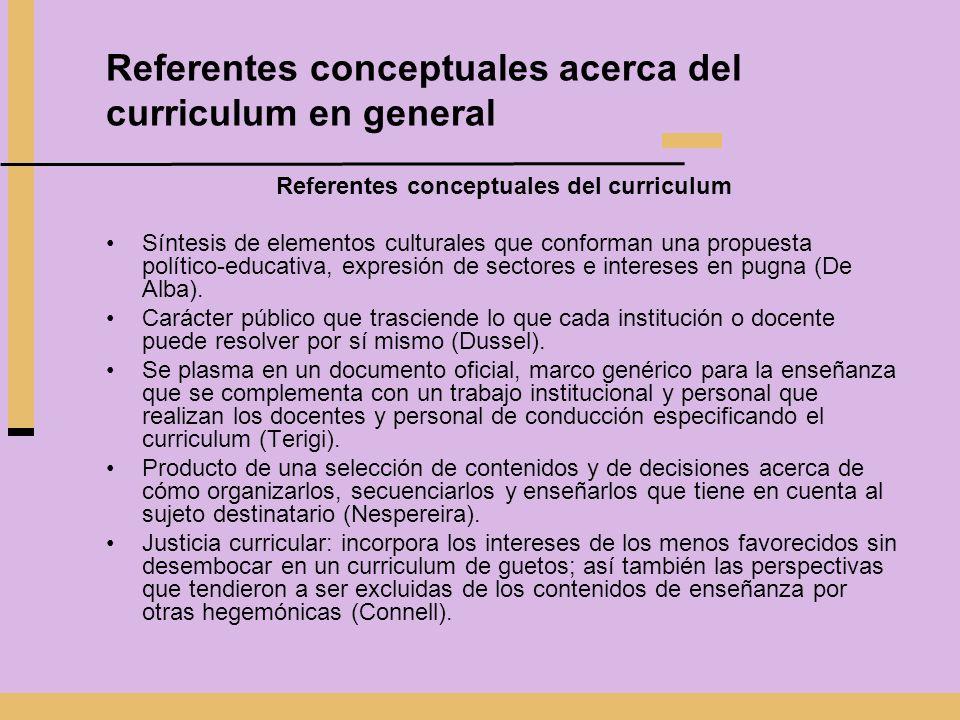 Referentes conceptuales acerca del curriculum en general