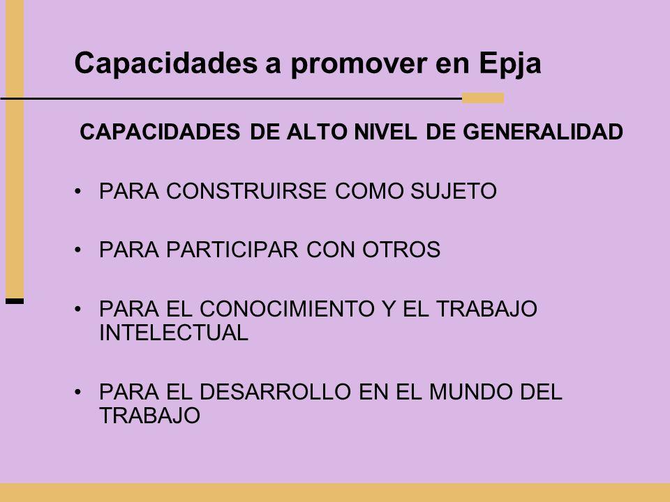 Capacidades a promover en Epja
