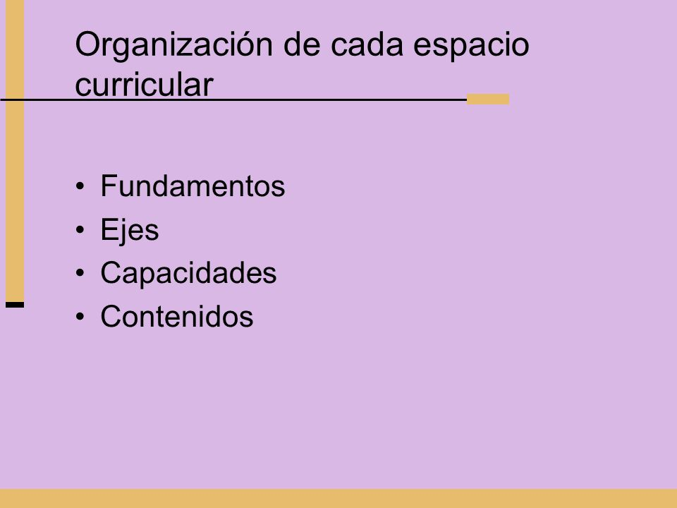 Organización de cada espacio curricular