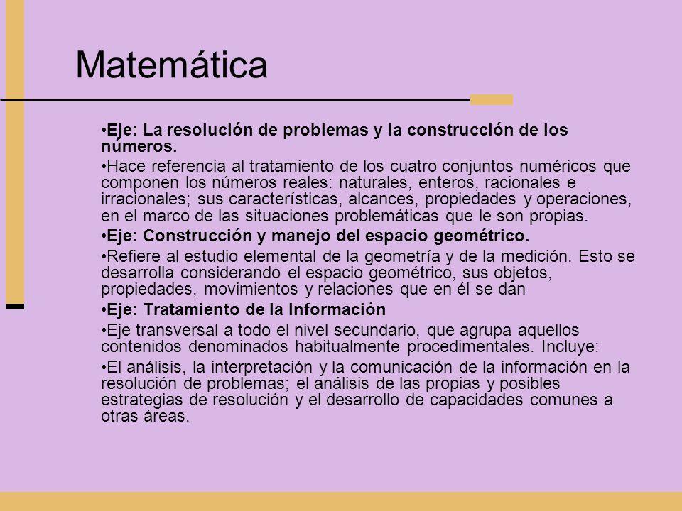MatemáticaEje: La resolución de problemas y la construcción de los números.