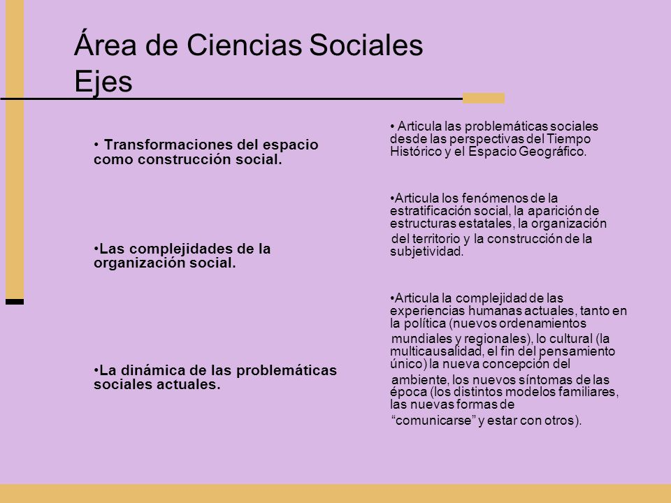 Área de Ciencias Sociales Ejes