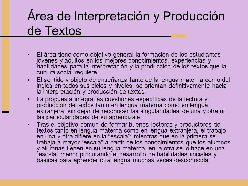 Área de Interpretación y Producción de Textos