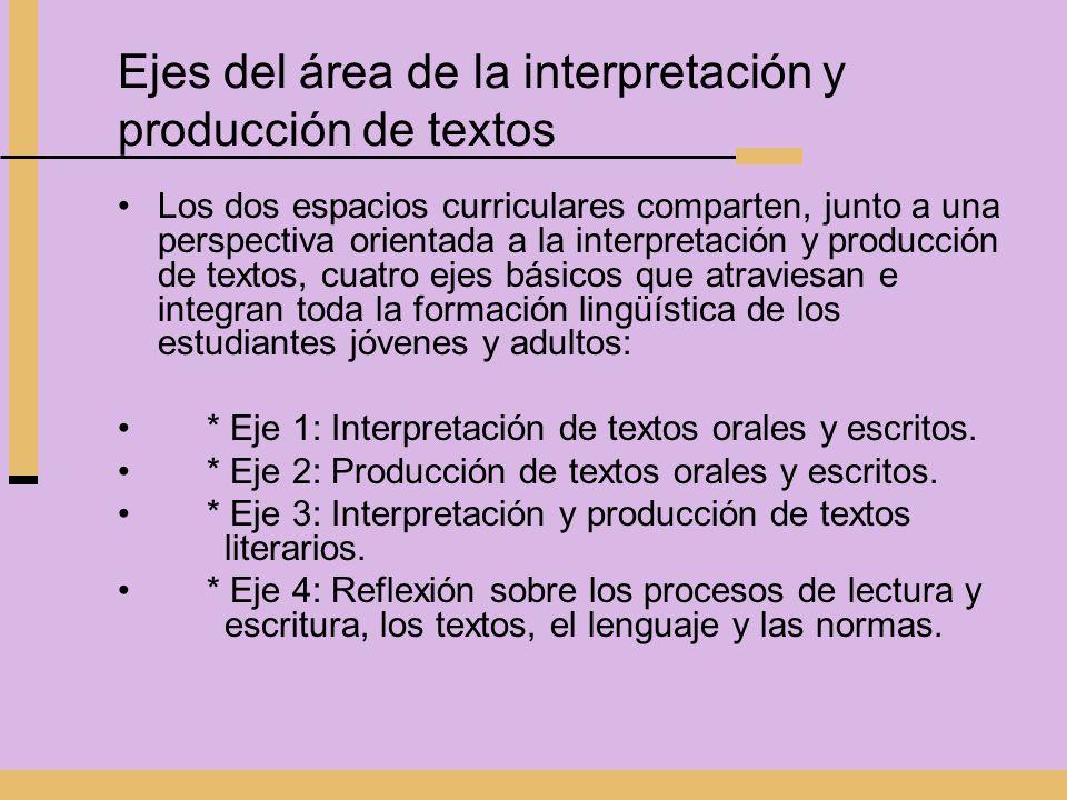 Ejes del área de la interpretación y producción de textos