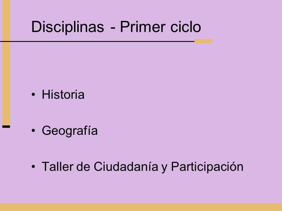 Disciplinas - Primer ciclo