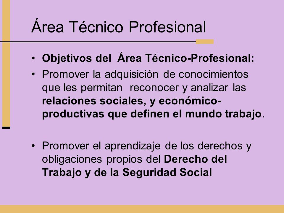 Área Técnico Profesional