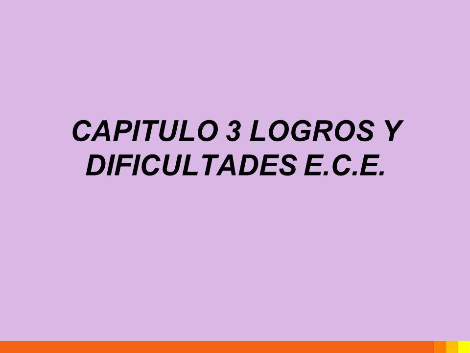 CAPITULO 3 LOGROS Y DIFICULTADES E.C.E.