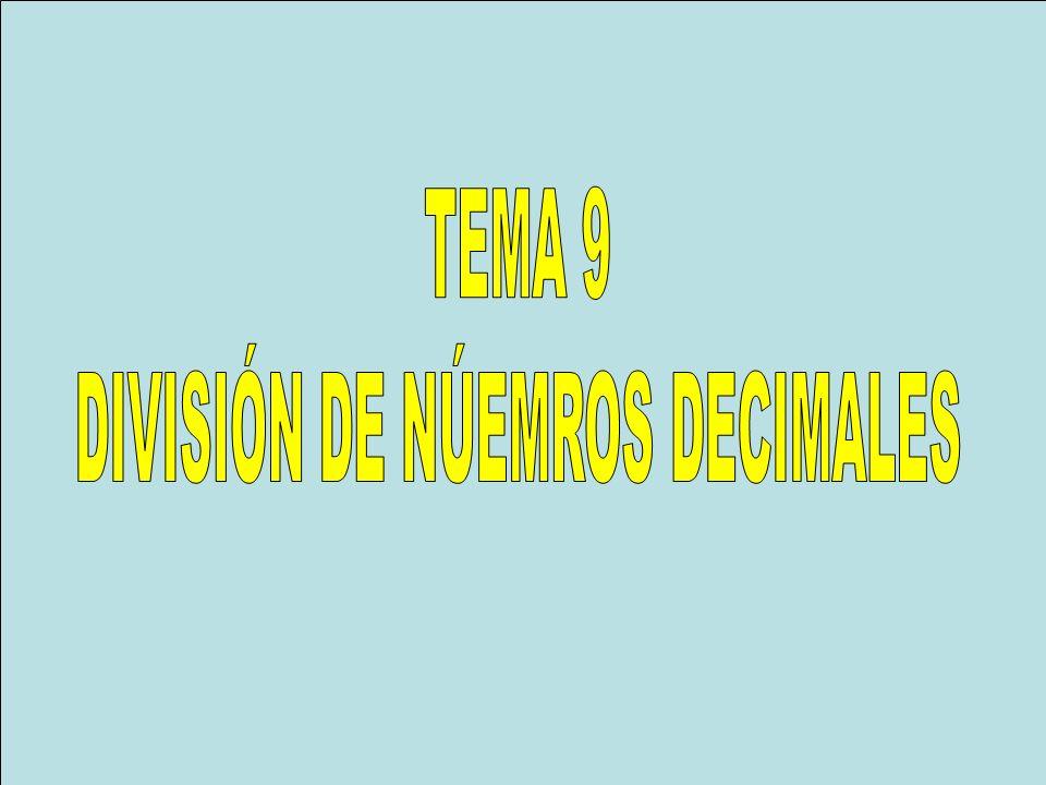 DIVISIÓN DE NÚEMROS DECIMALES