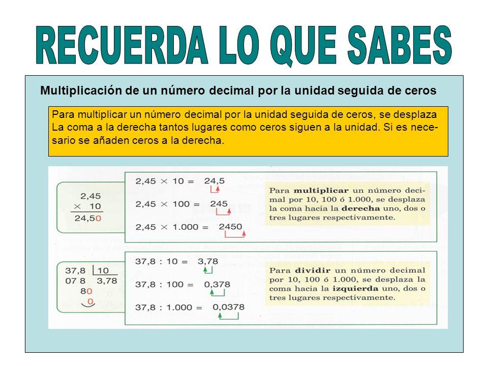 RECUERDA LO QUE SABES Multiplicación de un número decimal por la unidad seguida de ceros.