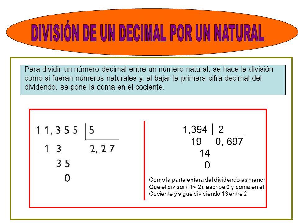 DIVISIÓN DE UN DECIMAL POR UN NATURAL