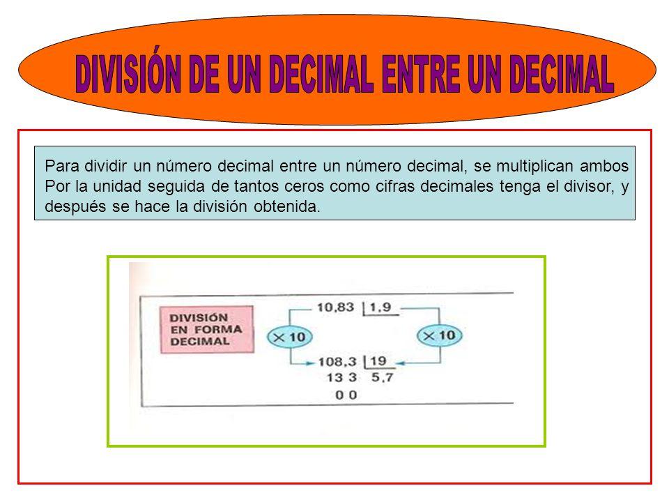 DIVISIÓN DE UN DECIMAL ENTRE UN DECIMAL
