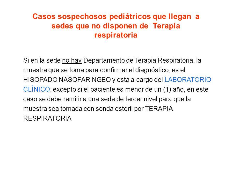 Casos sospechosos pediátricos que llegan a sedes que no disponen de Terapia respiratoria