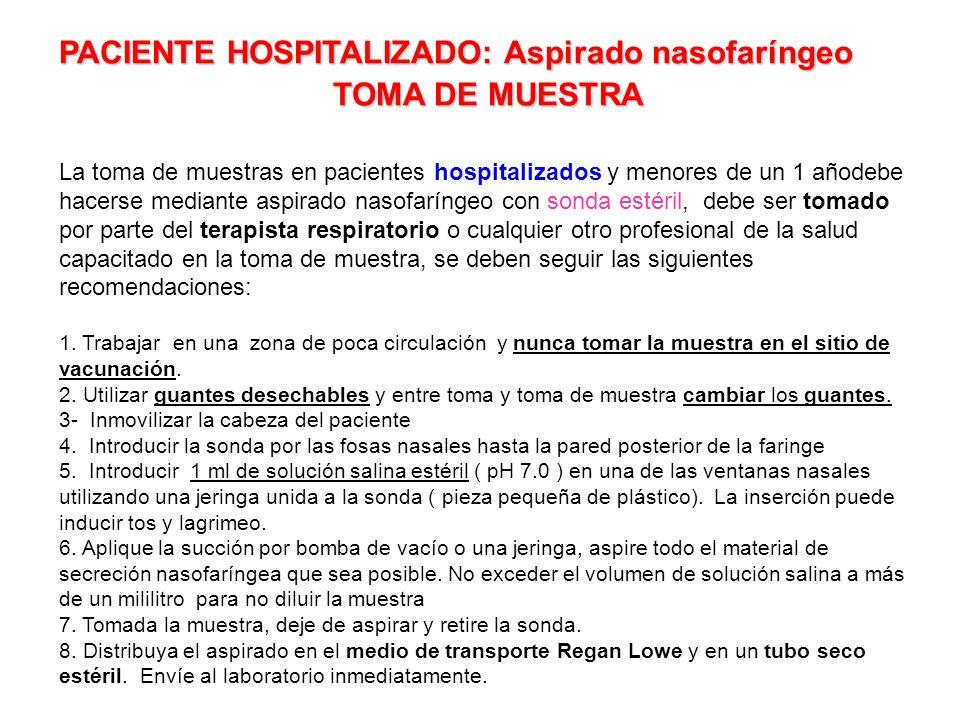 PACIENTE HOSPITALIZADO: Aspirado nasofaríngeo TOMA DE MUESTRA