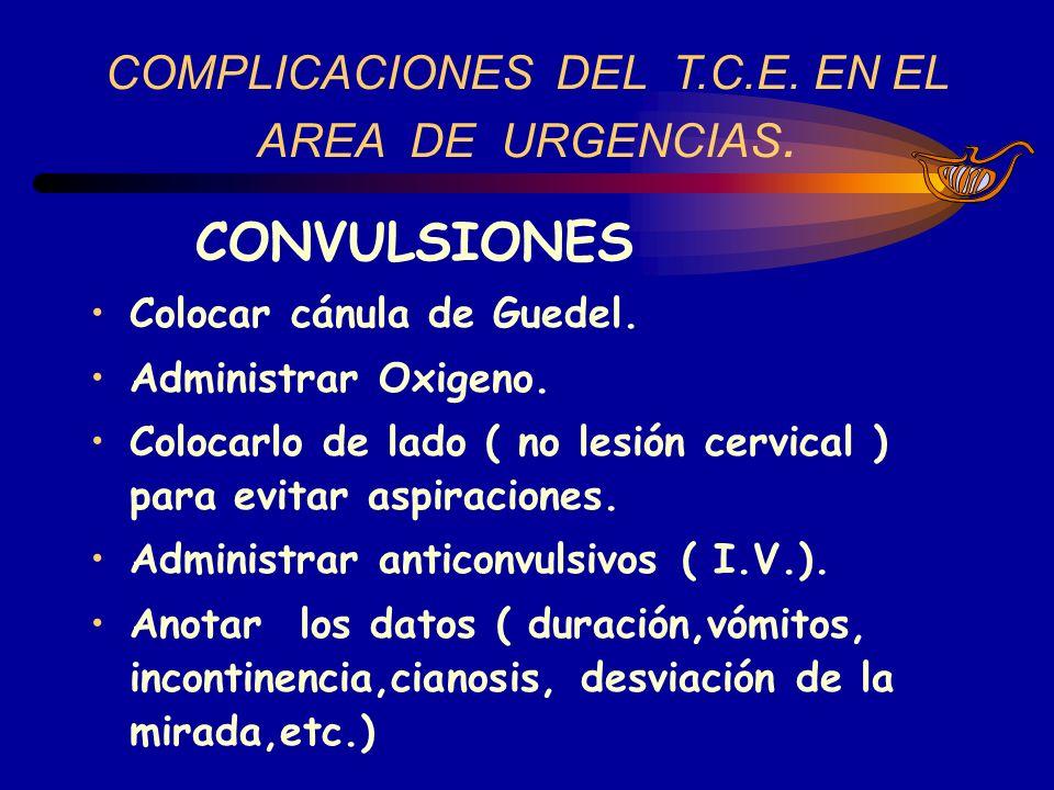COMPLICACIONES DEL T.C.E. EN EL AREA DE URGENCIAS.