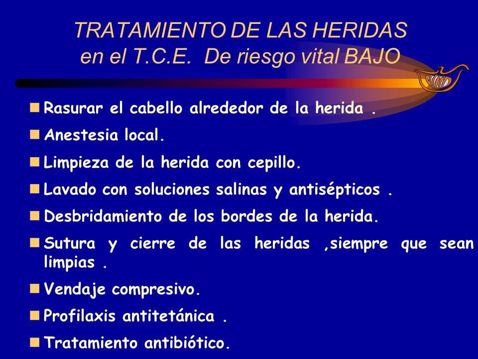 TRATAMIENTO DE LAS HERIDAS en el T.C.E. De riesgo vital BAJO