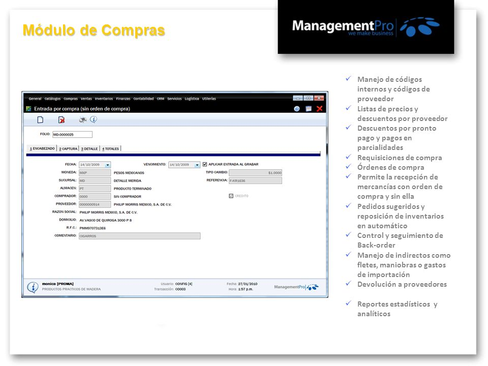 Módulo de Compras Manejo de códigos internos y códigos de proveedor