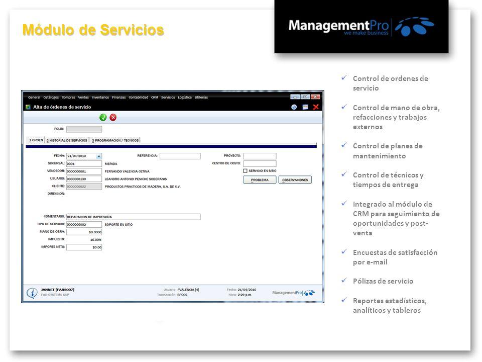 Módulo de Servicios Control de ordenes de servicio