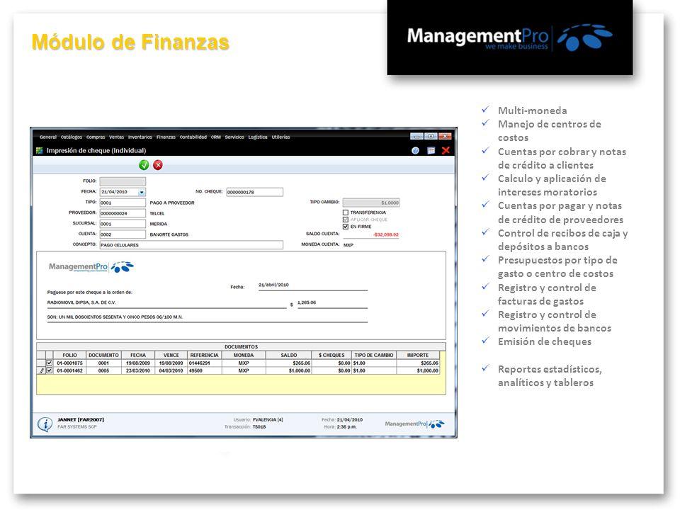 Módulo de Finanzas Multi-moneda Manejo de centros de costos