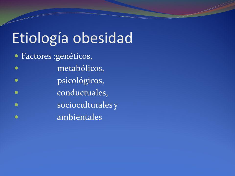 Etiología obesidad Factores :genéticos, metabólicos, psicológicos,