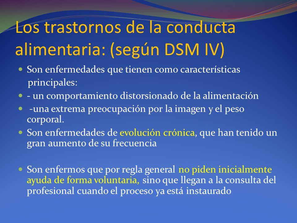 Los trastornos de la conducta alimentaria: (según DSM IV)