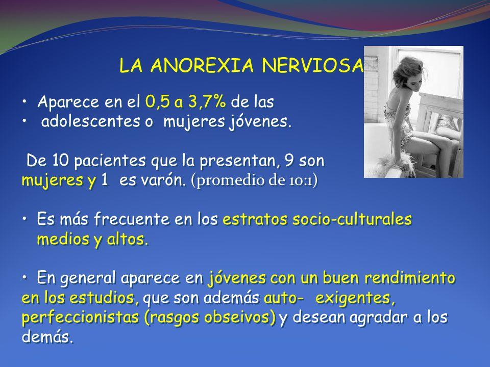 LA ANOREXIA NERVIOSA: Aparece en el 0,5 a 3,7% de las