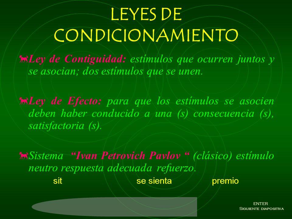 LEYES DE CONDICIONAMIENTO