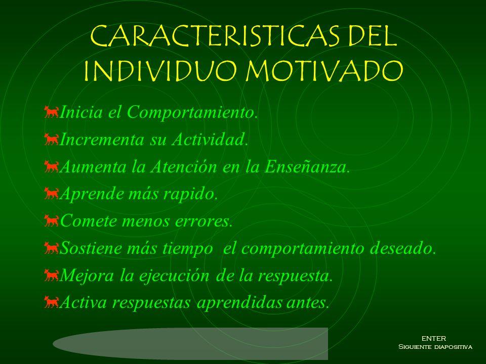 CARACTERISTICAS DEL INDIVIDUO MOTIVADO