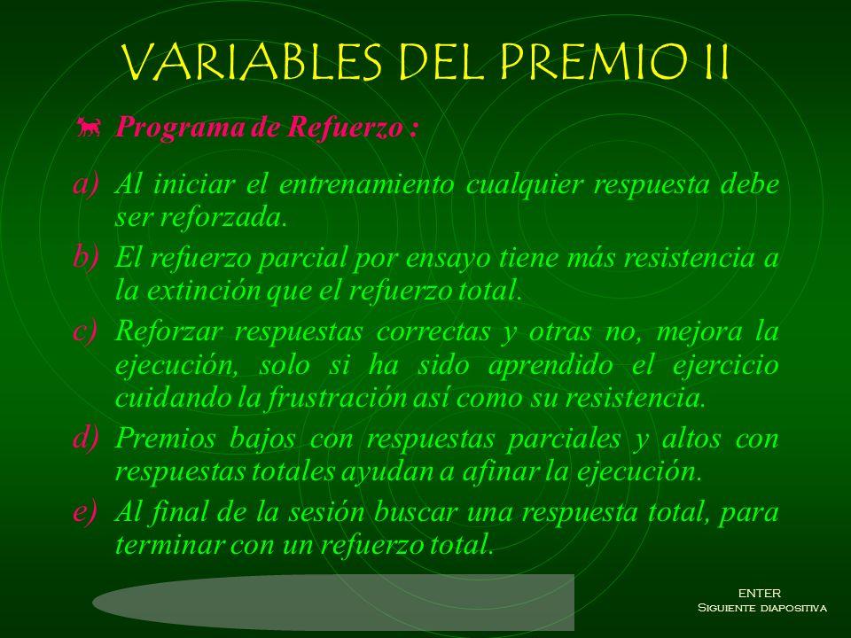 VARIABLES DEL PREMIO II