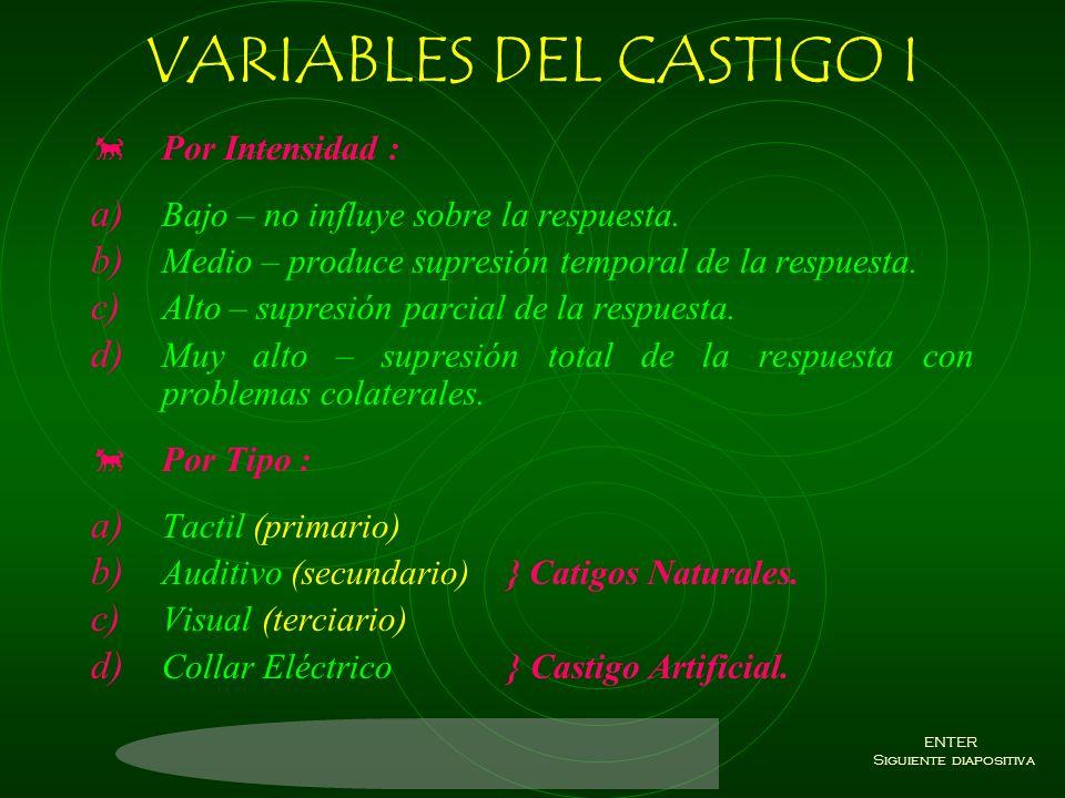 VARIABLES DEL CASTIGO I