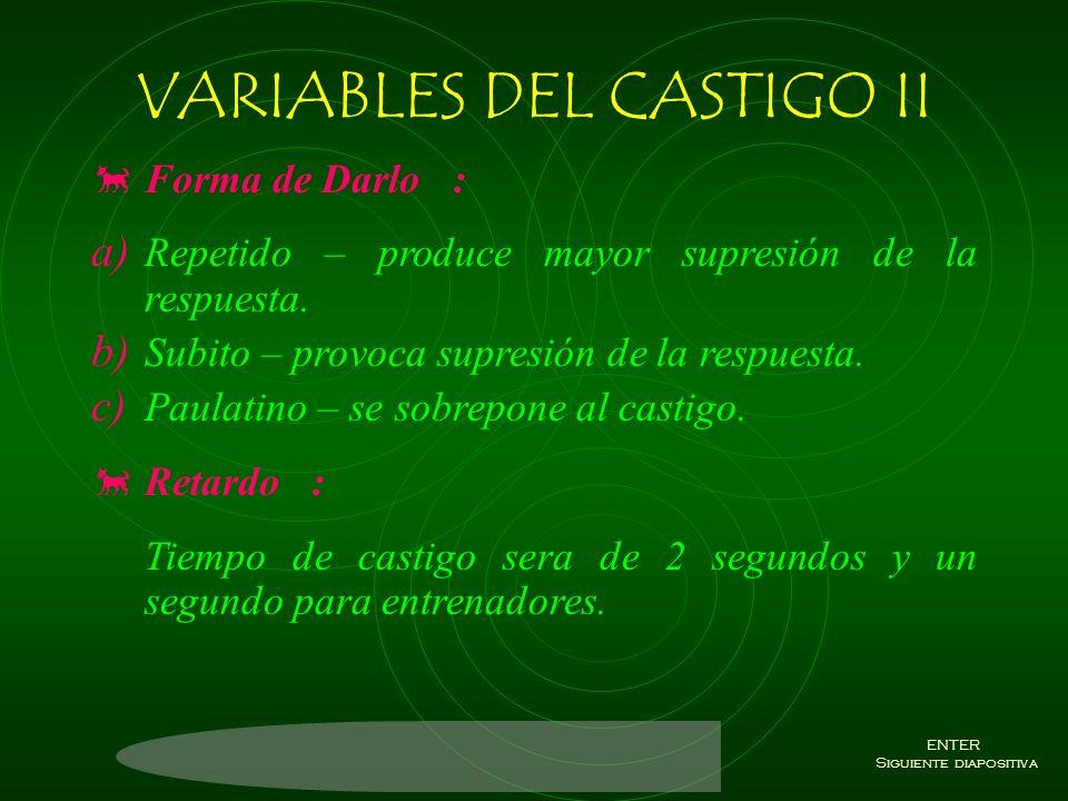 VARIABLES DEL CASTIGO II