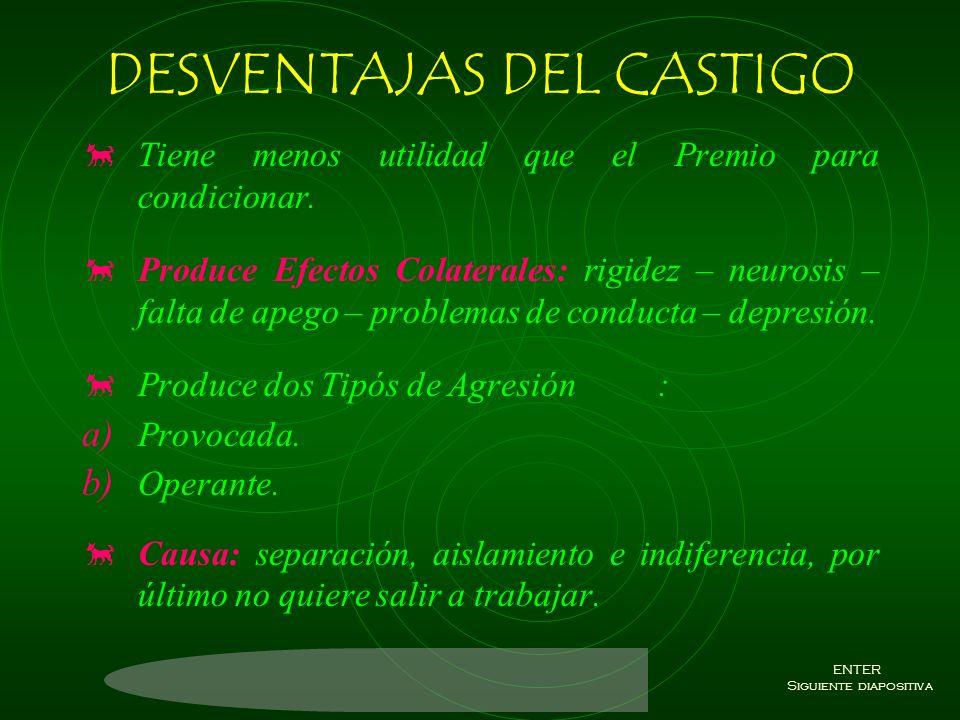DESVENTAJAS DEL CASTIGO