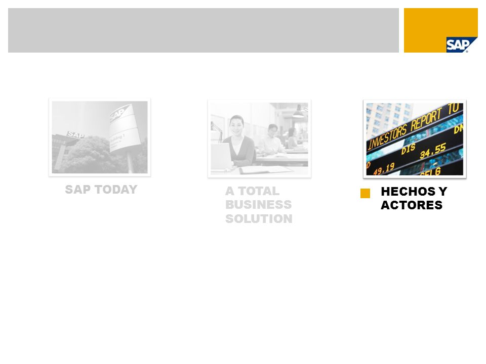 SAP TODAY A TOTAL BUSINESS SOLUTION HECHOS Y ACTORES