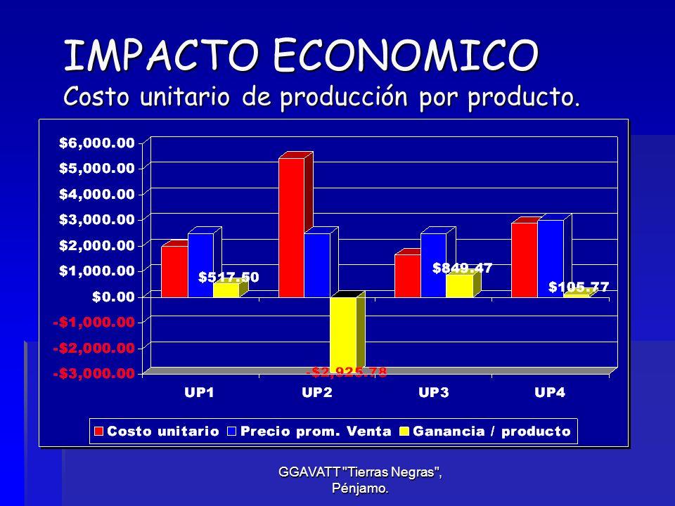 IMPACTO ECONOMICO Costo unitario de producción por producto.