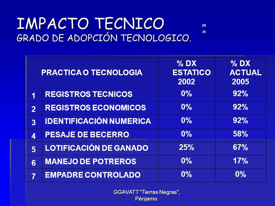 IMPACTO TECNICO GRADO DE ADOPCIÓN TECNOLOGICO.