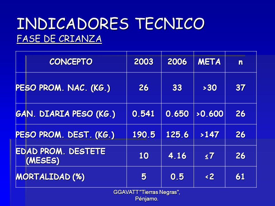 INDICADORES TECNICO FASE DE CRIANZA
