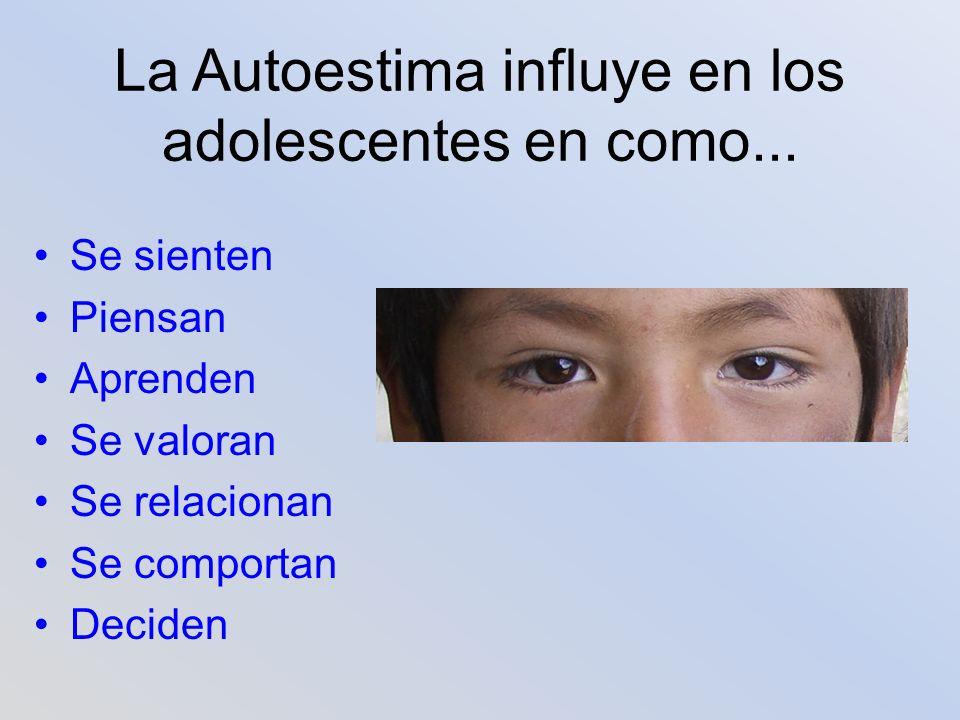 La Autoestima influye en los adolescentes en como...