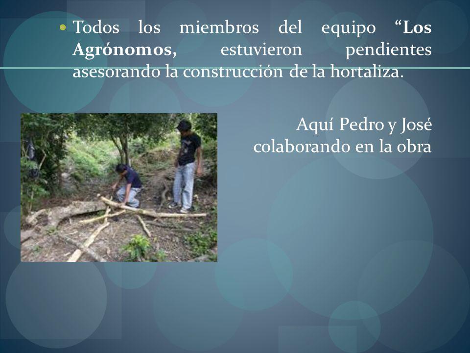 Todos los miembros del equipo Los Agrónomos, estuvieron pendientes asesorando la construcción de la hortaliza.