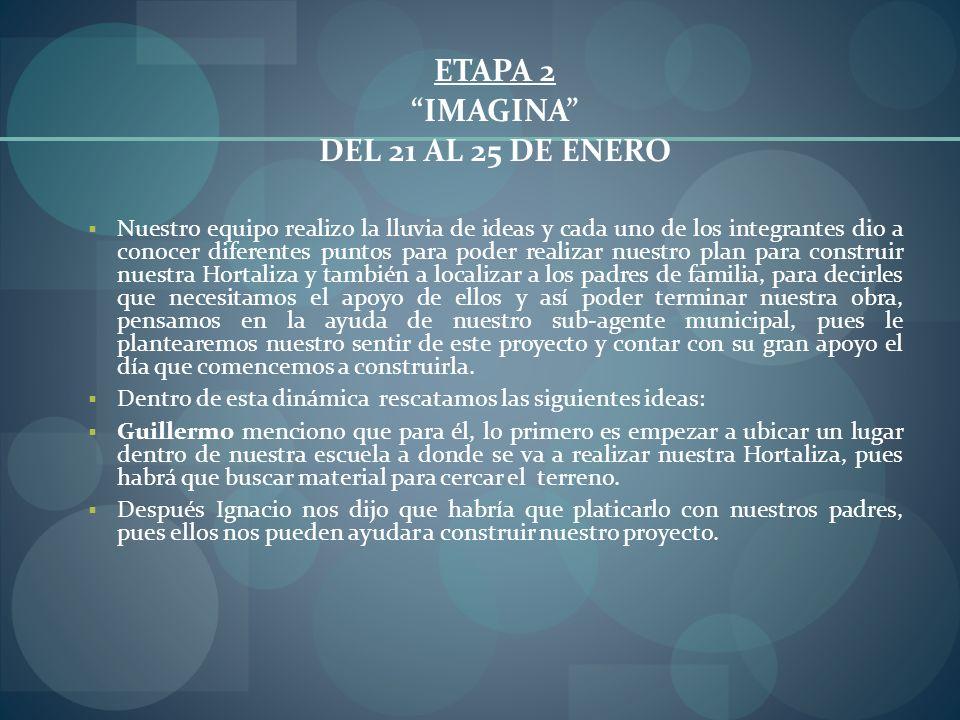ETAPA 2 IMAGINA DEL 21 AL 25 DE ENERO