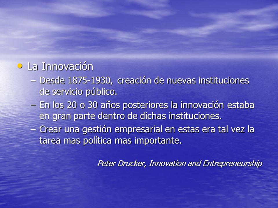 La Innovación Desde 1875-1930, creación de nuevas instituciones de servicio público.