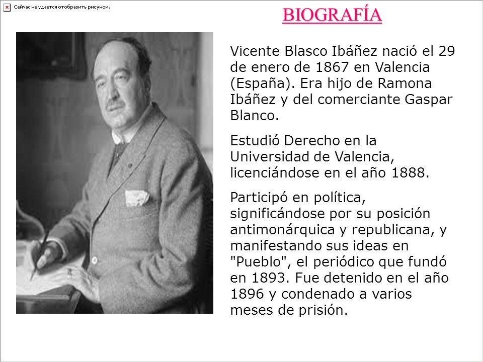 BIOGRAFÍA Vicente Blasco Ibáñez nació el 29 de enero de 1867 en Valencia (España). Era hijo de Ramona Ibáñez y del comerciante Gaspar Blanco.