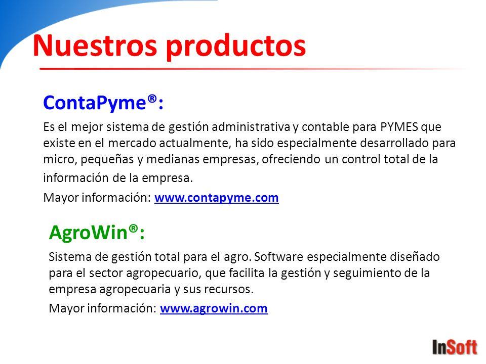 Nuestros productos ContaPyme®: AgroWin®:
