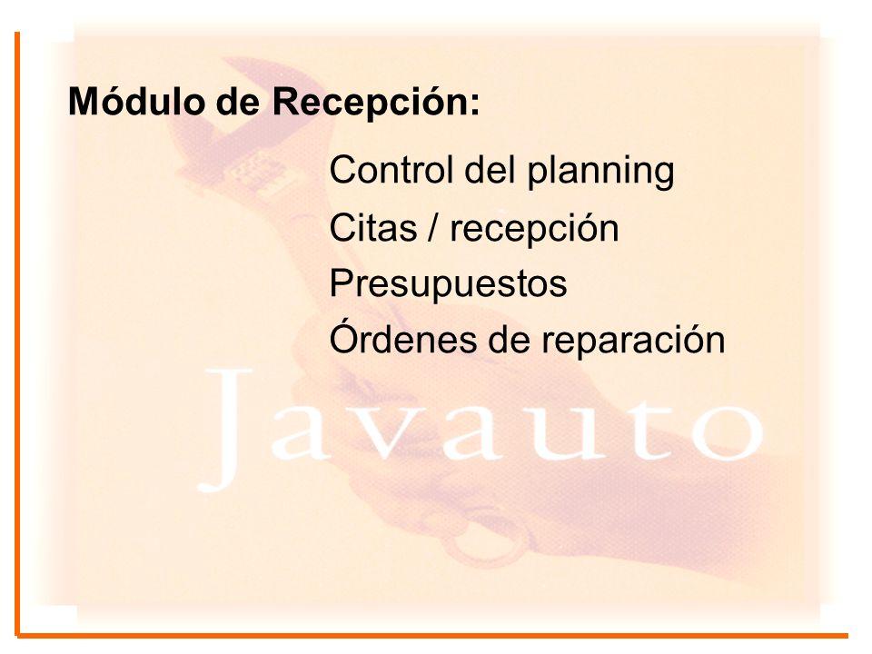 Control del planning Módulo de Recepción: Citas / recepción