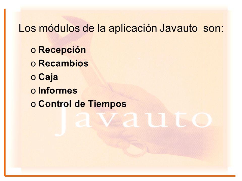 Los módulos de la aplicación Javauto son: