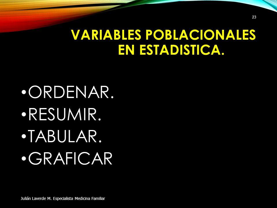 VARIABLES POBLACIONALES EN ESTADISTICA.