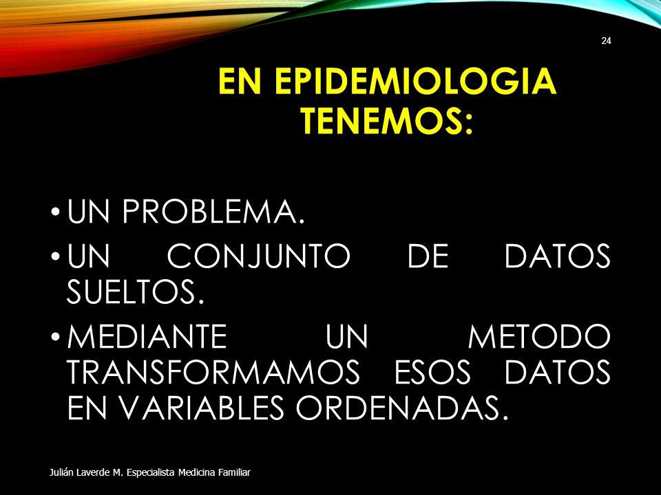 EN EPIDEMIOLOGIA TENEMOS: