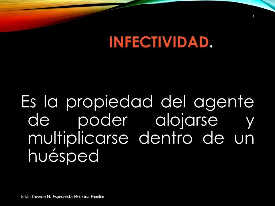INFECTIVIDAD.Es la propiedad del agente de poder alojarse y multiplicarse dentro de un huésped.