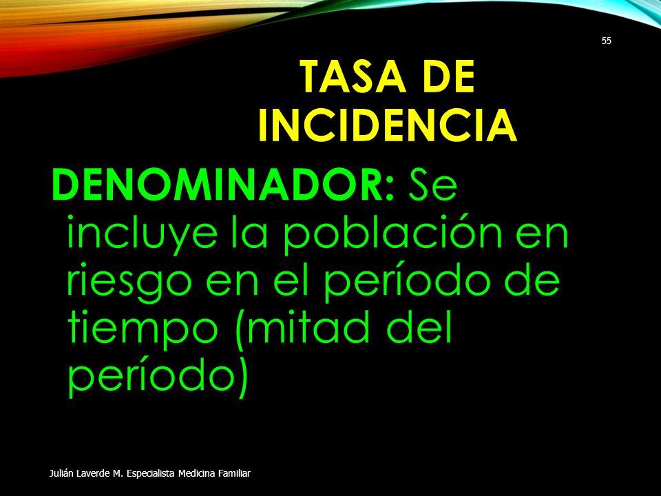 TASA DE INCIDENCIA DENOMINADOR: Se incluye la población en riesgo en el período de tiempo (mitad del período)