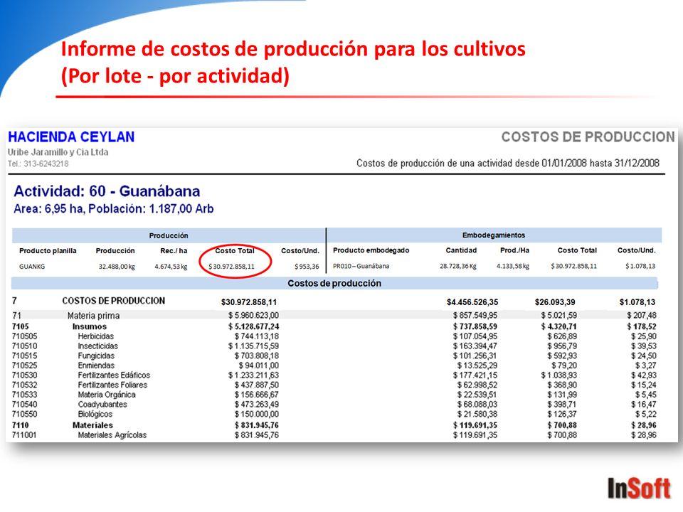 Informe de costos de producción para los cultivos